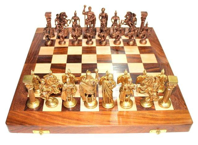 """Purpledip Chess Set with Brass Sculpted Pieces in Ancient Roman Style and Wooden Board """"Golden Era"""": Strategy Board Game with Universal Rules; Loved Alike by Kids and Adults of All Ages (10504)"""