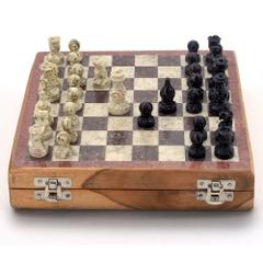 Purpledip Chess Set with Stone Sculpted Pieces and Marble Finish Board: Strategy Board Game with Universal Rules; Loved Alike by Kids and Adults of All Ages (10505)
