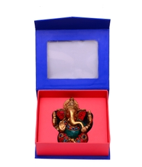 Purpledip 5 inch Brass Ganesha with stonework in a classy gift box (20000)