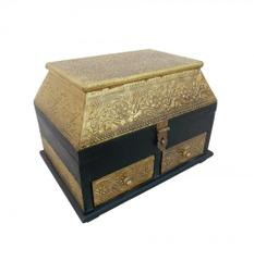 Purpledip Brass Covered Wooden Treasure Box (wcm486a1)