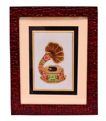 Purpledip Indian gift item: Marble tile painting of musicial instrument, framed to perfection, Handpainting with gold work (10552)