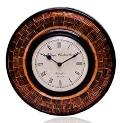 Purpledip Wall Clock 'Brown Magic'' - Mosaic of Glistening Brown Crystal Pieces set in Wood Frame for a Magical Effect | Size: 1212 inches  (10553)
