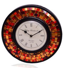 Purpledip Wall Clock 'Red & Brown Magic'' - Mosaic of Glistening Red & Brown Crystal Pieces set in Wood Frame for a Magical Effect | Size: 1212 inches  (10554)