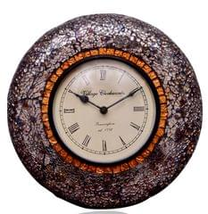 Purpledip Wall Clock 'Brown Shimmer '' - Mosaic of Glistening Brown Crystal Pieces set in Wood Frame for a Magical Effect | Size: 1212 inches  (10556)