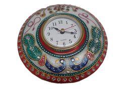 Purpledip Handpainted Marble table clock (10561)