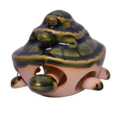 Purpledip Bobbing Head & Legs Ceramic Glass Feng Shui Tortoise Family (10626)