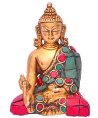 Purpledip God Statue of Lord Buddha in Solid Brass Metal with Turquoise Gem-stone Work (10642)
