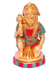 Purpledip Lord Hanuman / Bajrangbali Idol in Pure Brass with magnificent stonework (10644)