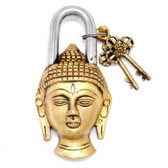 Purpledip Handcrafted Buddha Shaped Brass Padlock (10648)