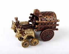 Purpledip Brass Bullock Cart With Rolling wheels (10651)