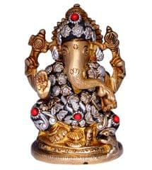 Purpledip Hindu Religious God Vinayak/Ganesha/Ganpati Statue: Sculpted In Pure Solid Brass (10664)