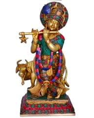 Purpledip Hindu Religious Lord Krishna With Cow Statue with Gemstonework (10666)