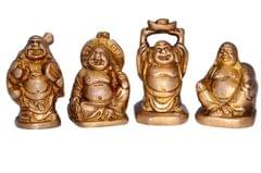 Purpledip Vintage Laughing Buddha Statue Set In Solid Brass Metal (10672)