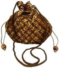 Purpledip Potli Bag For Women With Intricate Gold Thread & Sequin Embroidery Work (10674)