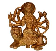 Purpledip Hindu Religious Goddess Durga Ma Statue: Sculpted in Solid Brass Metal (10681)