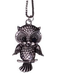 Purpledip Funky Necklace with long chain for girls, Oxidised Metal Owl Pendant (30029)