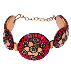 "Purpledip Vintage Bracelet ""Blossoming Hearts"": Adjustable Design With Artistic Mosaic Stonework Set In Brass (30045)"