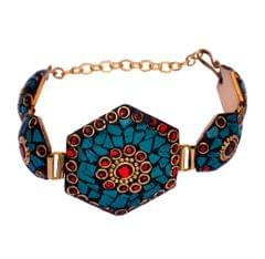 "Purpledip Vintage Bracelet ""Truly Regal"": Adjustable Design With Artistic Mosaic Stonework Set In Brass (30046)"