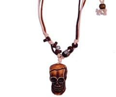 "Purpledip Necklace Chain ""Human Skull"": Unique Pendant With Adjustable Cotton Cord (30055)"