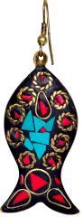Purpledip Brass Dangle Earrings With Artistic Mosaic Stonework Partwear Jewelery (30064)