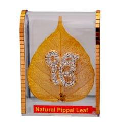 Purpledip Gold Plated Natural Pipal Leaf with Ik Onkar (10693)