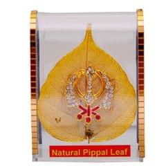 Purpledip Gold Plated Natural Pipal Leaf with Khanda (10694)