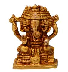 Purpledip Ganesha Ganapathi Vinayak In Panchmukhi Avatar Sculpted In Solid Brass Metal (10696)