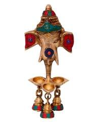 Purpledip Ganesha Wall Hanging With 3 Deepak Lamps & Hanging Bells: Sculpted In Solid Brass Metal With Colorful Gemstones (10698)