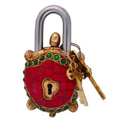 Purpledip Tortoise Turtle Shaped Brass Lock Padlock: Handmade Antique Design With Colorful Gemstone Work (10700)