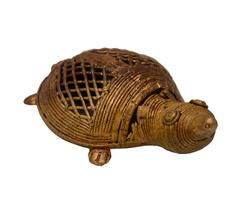 Purpledip Dhokra Art Tortoise Turtle Metal Statue With Feng Shui Vastu Significance (10702)