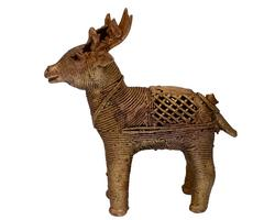 Purpledip Dhokra Art Deer Metal Statue With Feng Shui Vastu Significance (10704)