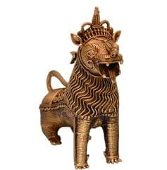 Purpledip Dhokra Art Chinese Lion Metal Statue Showpiece (10706)