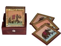 Square Coaster Set of 6: Real Gemstone design on Pinewood Indian souvenir(10716)