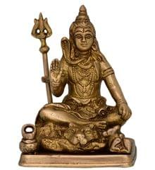 Brass Statue Idol Of Lord Shiva Mahadev With Trishool: For Home Temple, Office Table Or Shop Puja Shelf | Hindu Religious Gift (10717)