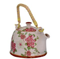 Purpledip Beautifully Painted Ceramic Kettle, Steel Strainer Included (10731)