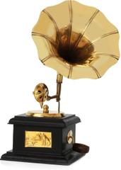 Handcrafted Brass Vintagve Miniature Wooden Gramophone Showpiece Memorabilia Souvenir For Hotels Restaurants Home(10736)