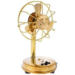 Purpledip Handcrafted Brass Vintage Miniature Table Fan Showpiece Memorabilia Souvenir For Hotels Restaurants Home (10737)