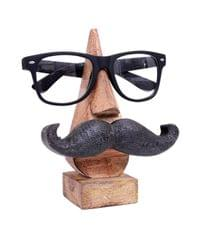 Purpledip Wooden Spectacles Stand Glasses Holder 'Moostachio': Quirky Design With Moustache; Memorable Gift (10738)