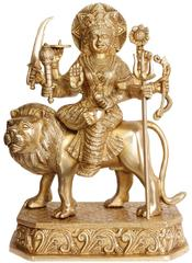 Brass Statue Idol Supreme Goddess Durga For Home Temple Mandir Maa Sherawali brass statue (10807)