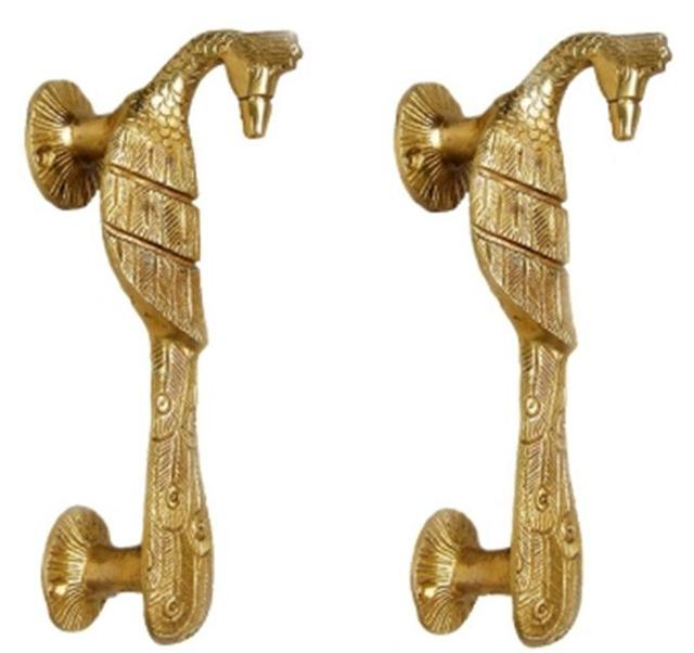 Superior Brass Door Handles In Pure Brass For Main Door, Indian Peacock Design Fully  Functional Decorative Peacock ...