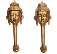 Brass Door Handle in Pure Brass for Main Door, Buddha Gautum Buddh design Fully Functional Decorative Buddha Brass Door Handle (10813)