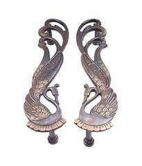 Exquisite Door Handles in Pure Brass for Main Door, Indian Peacock design Fully Functional Decorative Door Handles (10821)
