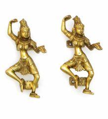 Exquisite Door Handles in Pure Brass for Main Door, Indian Dancing divas design Fully Functional Decorative Door Handles (10822)