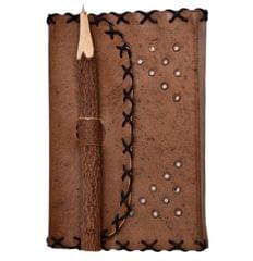 Purpledip Leather Diary / Journal / Notebook 'Manuscript': Naturally Treated Paper With Chipped Wood Encased Pen For Corporate Gift Or Personal Memoir (10761)