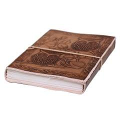 Purpledip Leather Diary / Journal / Notebook 'Guardian Owls' With Naturally Treated Paper; Corporate Gift Or Personal Memoir (10763)