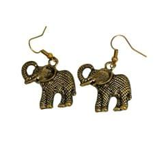 Funky Elephant Earrings in Golden Color Oxidised Metal (30096)