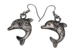 Funky Dolphin Earrings in Silver Color Oxidised Metal (30097)