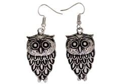 Funky Owl Earrings in Silver Color Oxidised Metal (30099)