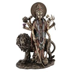 Maa Durga Hindu Goddess Tall Standing Statue with Lion Durga Mata for Home Temple 10824