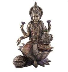 Ma Lakshmi Idol: Hindu Goddess of Wealth & Fortune Statue; Religious Figurine Decor Gift 10827